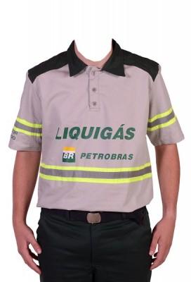7013 - CAMISA GOLA POLO MC LIQUIGAS CINZA